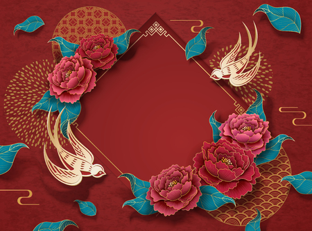 Red New year background template with peony flowers and golden swallow