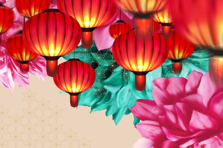 Hanging lanterns and colorful peony beige background