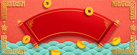 Lucky coins and gold ingot falling from sky, blank traditional scroll with copy space for greeting words