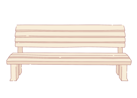 Wooden park bench in line style on white background Illustration