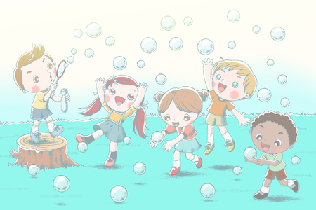 Cute children blowing bubbles and show happy expression on grassland