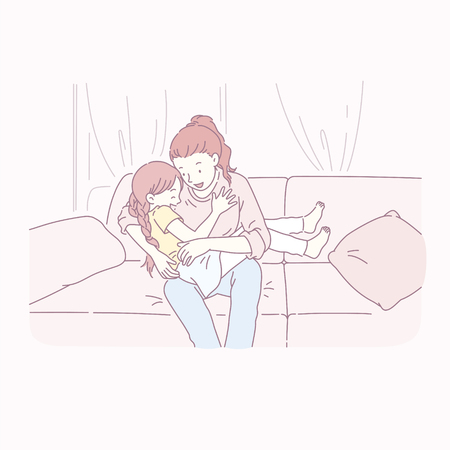 Mom playing with her daughter on the sofa in line style Illusztráció