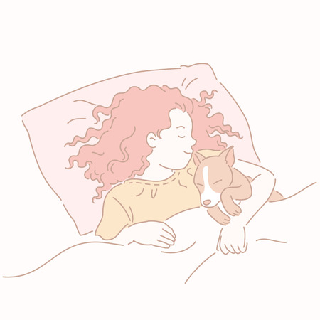 Girl sleeping in bed hugging corgi in line style Stock Vector - 114679628