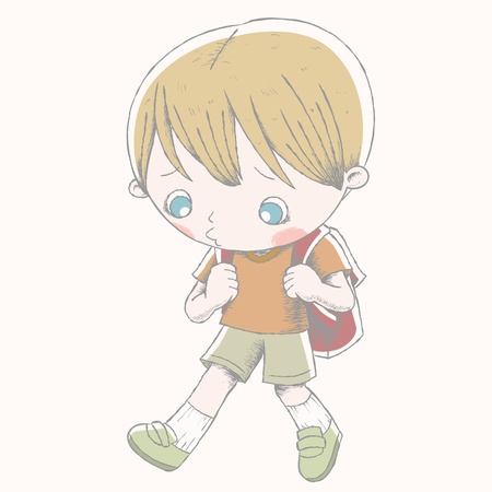 Cute boy with his school bag and shows sad expression Vetores