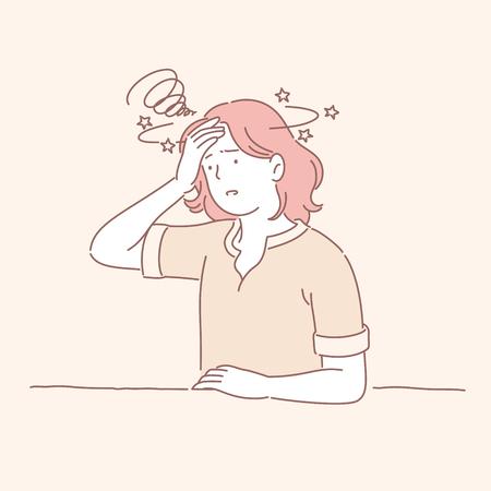 Fille stressée aux cheveux roux dans le style de ligne