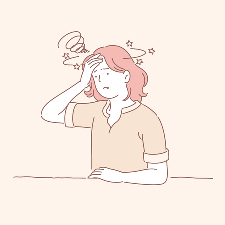 Stressed girl with ginger hair in line style