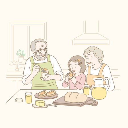 Grandparents and kid eating jam bread in hand drawn line style