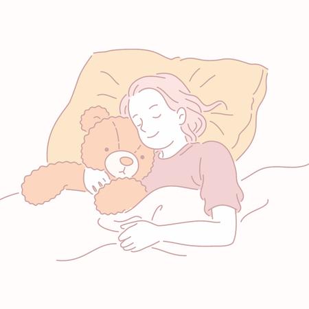 Girl sleeping in bed hugging teddy bear in line style Illustration