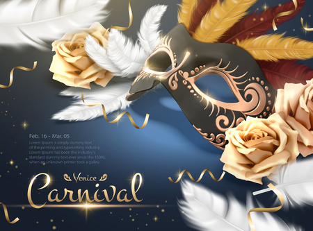 Venice Carnival poster with golden mask and white feathers in 3d illustration