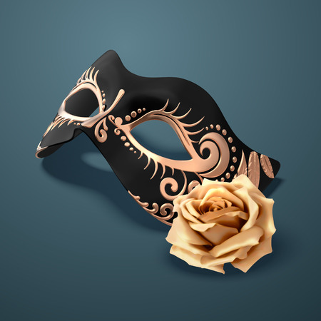 Embossed black mask with golden rose on peacock blue in 3d illustration