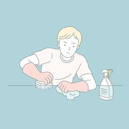 Mann, der den Tisch mit Reinigungsmittel in Linienstilillustration abwischt