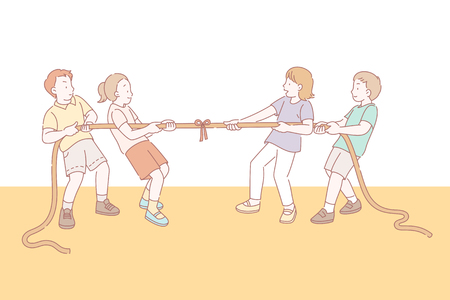 Kids playing tug of war in line style