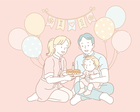 Family celebrating birthday for baby in line style illustration Illustration