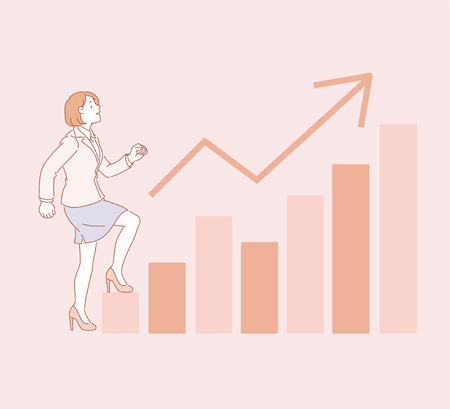 Business woman walking up graph chart in line style illustration
