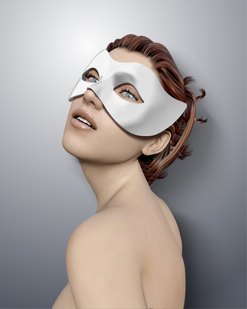 Beautiful woman wearing white mask for masquerade in 3d illustration Illustration