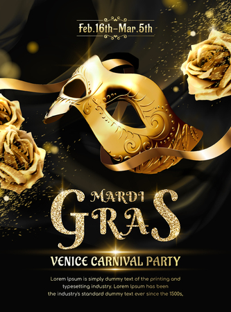 Mardi gras carnival party with golden mask and roses in 3d illustration