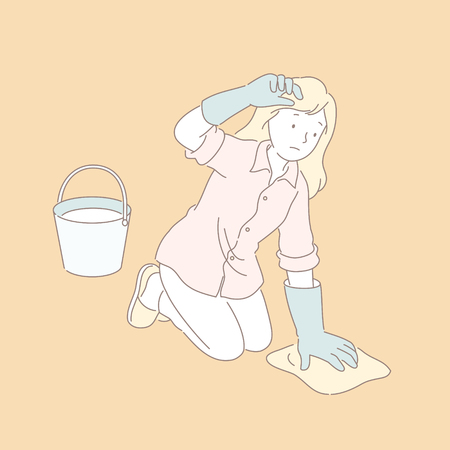 Woman wiping the floor in line style illustration