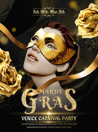 Mardi gras carnival party design, beautiful model wearing black mask with golden roses in 3d illustration