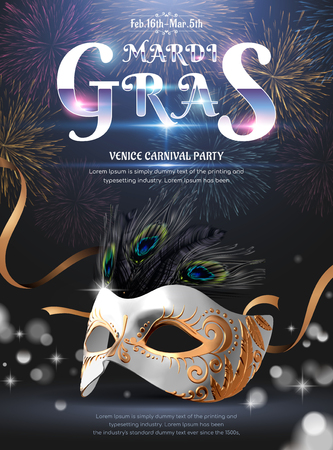 Mardi gras carnival party design with silver mask on fireworks background in 3d illustration