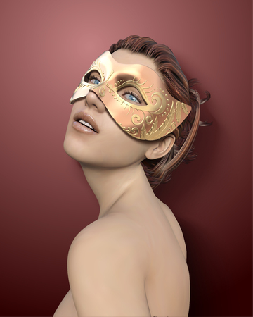 Beautiful woman wearing golden mask for masquerade in 3d illustration