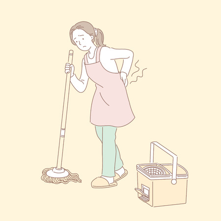 Woman mopping the floor and suffering from lower back pain in line style illustration Illustration