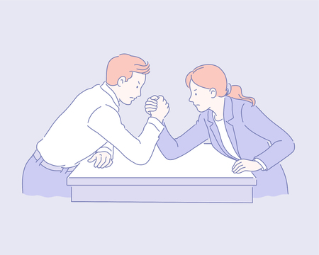 Business man and woman arm wrestling in line style illustration