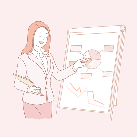 Business woman analyzing pie chart in line style illustration Illustration