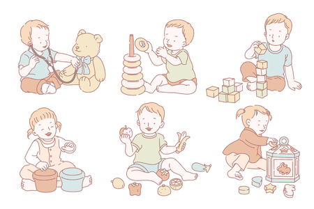 Toddlers playing with their own toys in line style Illustration