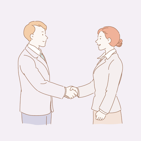 Business woman and man shaking hands in line style illustration Illustration