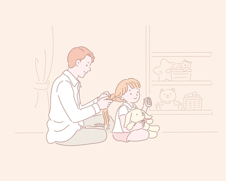 Man helps a little girl doing hair braiding in line style illustration