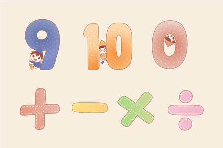 Cartoon numbers and math symbol for kids with little elf