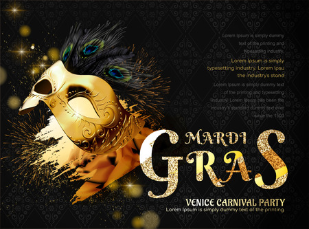 Mardi gras carnival party with golden mask and peacock feathers in 3d illustration