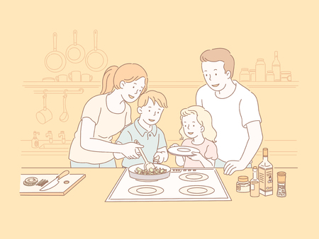 Family cookling together in the kitchen in line style illustration