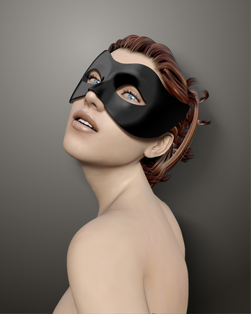 Beautiful woman wearing black mask for masquerade in 3d illustration