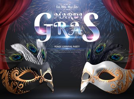 Diseño de fiesta de carnaval de Mardi Gras con máscara y plumas de pavo real sobre fondo de fuegos artificiales en ilustración 3d