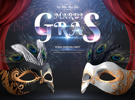 Mardi gras carnival party design with mask and peacock feathers on fireworks background in 3d illustration