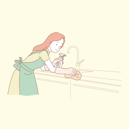 Woman cleaning kitchen countertop in line style illustration