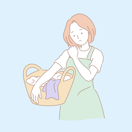 Woman doing laundry and suffering shoulder pain in line style illustration Illustration