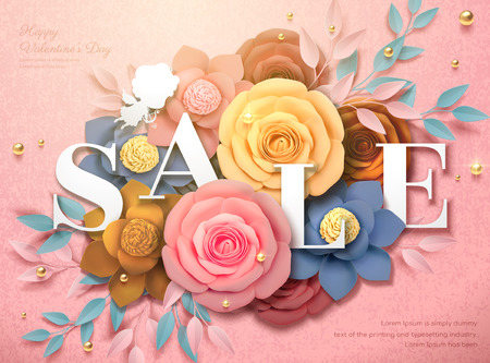 Happy Valentines Day Sale design with colorful paper flowers in 3d illustration, pink background Illustration