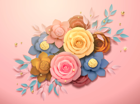 Beautiful colorful paper flowers boutique and golden beads decorations in 3d illustration
