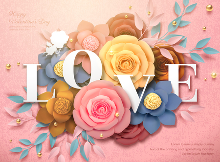 Happy Valentines Day design with colorful paper flowers in 3d illustration, pink background Illustration