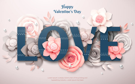 Happy Valentines Day design with paper flower and pearl decorations in 3d illustration