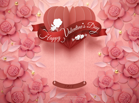 Happy Valentines Day design with pink paper flowers and hanging heart in 3d illustration
