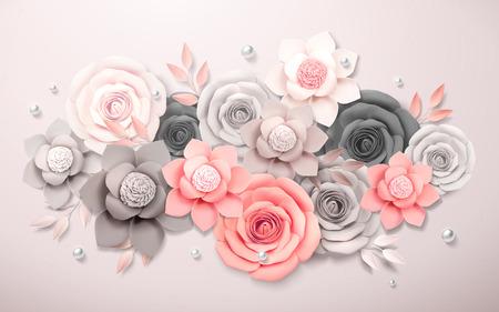 Elegant paper flowers boutique in grey and pink, 3d illustration