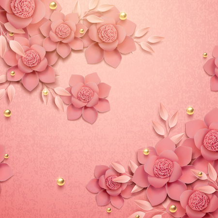 Romantic paper flowers and golden beads background in 3d illustration Illustration