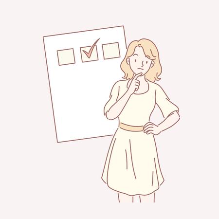 Femme en robe jaune avec sa liste de choses à faire en dessin au trait
