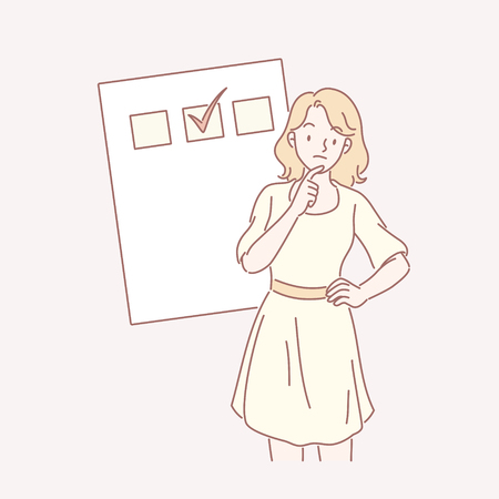 Woman in yellow dress with her to do list in line art