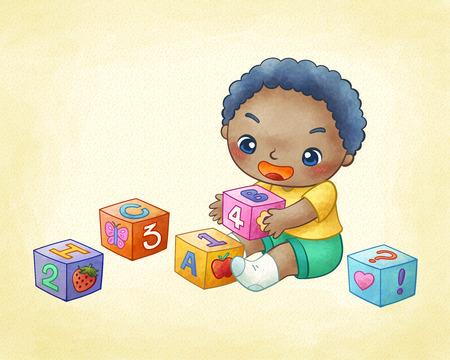 Cute little boy playing building blocks in line art Illustration