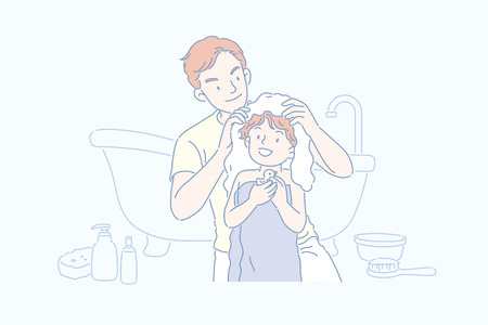 Man drying his sons hair in bathroom, line art style