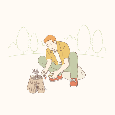 Man making fire in the wild, line art style